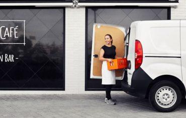 woman unloading van